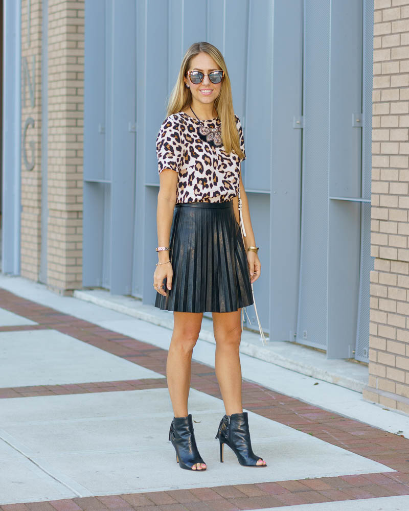 Leopard top, pleated leather skirt