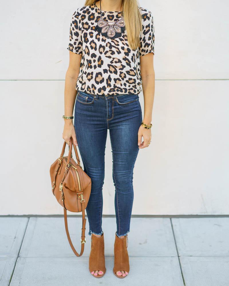 Leopard top, skinny jeans