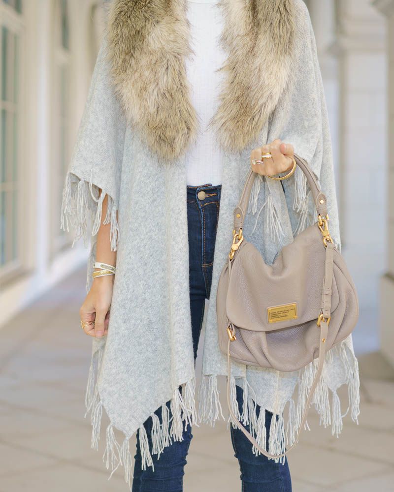 DIY an old sweater: gray sweater, faux fur