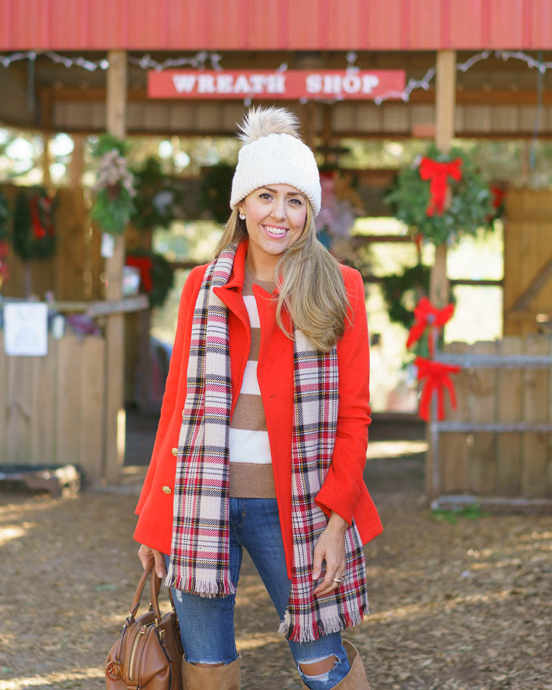 Winter coat outfit: plaid scarf, stripe sweater