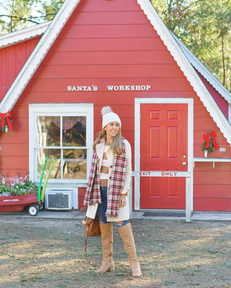Winter coat outfit: plaid scarf, beige boots