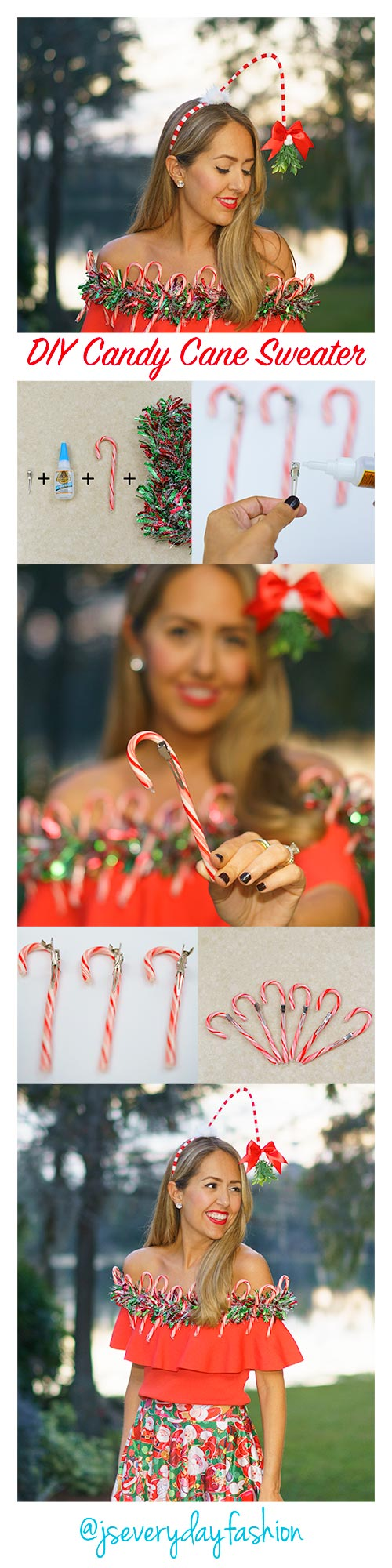DIY Candy Cane Ugly Christmas Sweater
