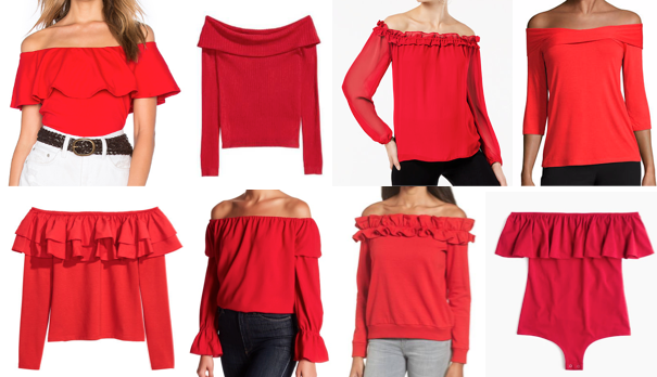 Red off the shoulder tops