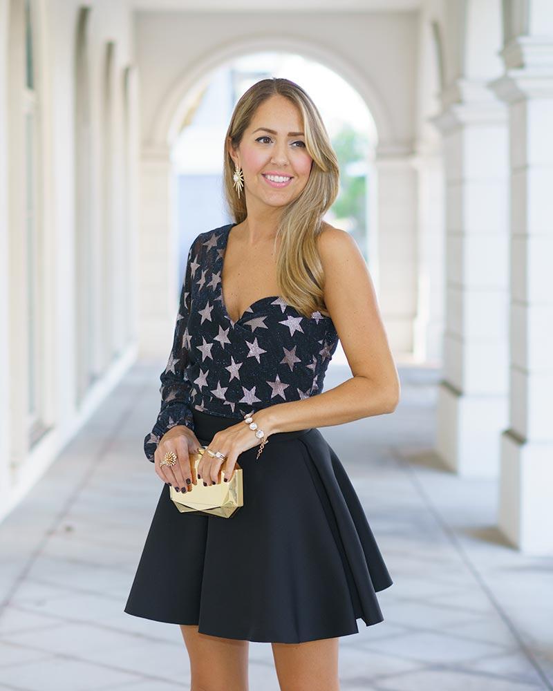 One sleeve star bodysuit, black skirt