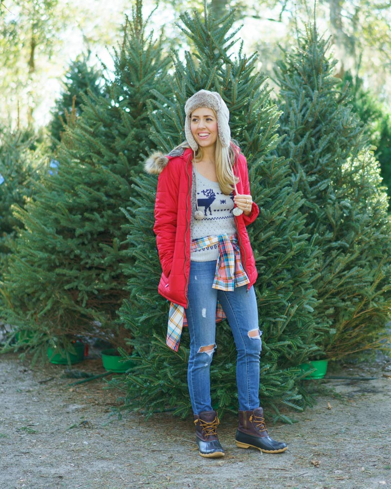 Santa's Farm Eustis: Red puffer coat, trapper hat, duck boots