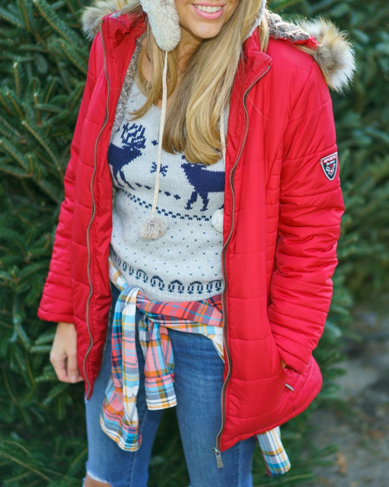 Red puffer coat, Fair Isle sweater
