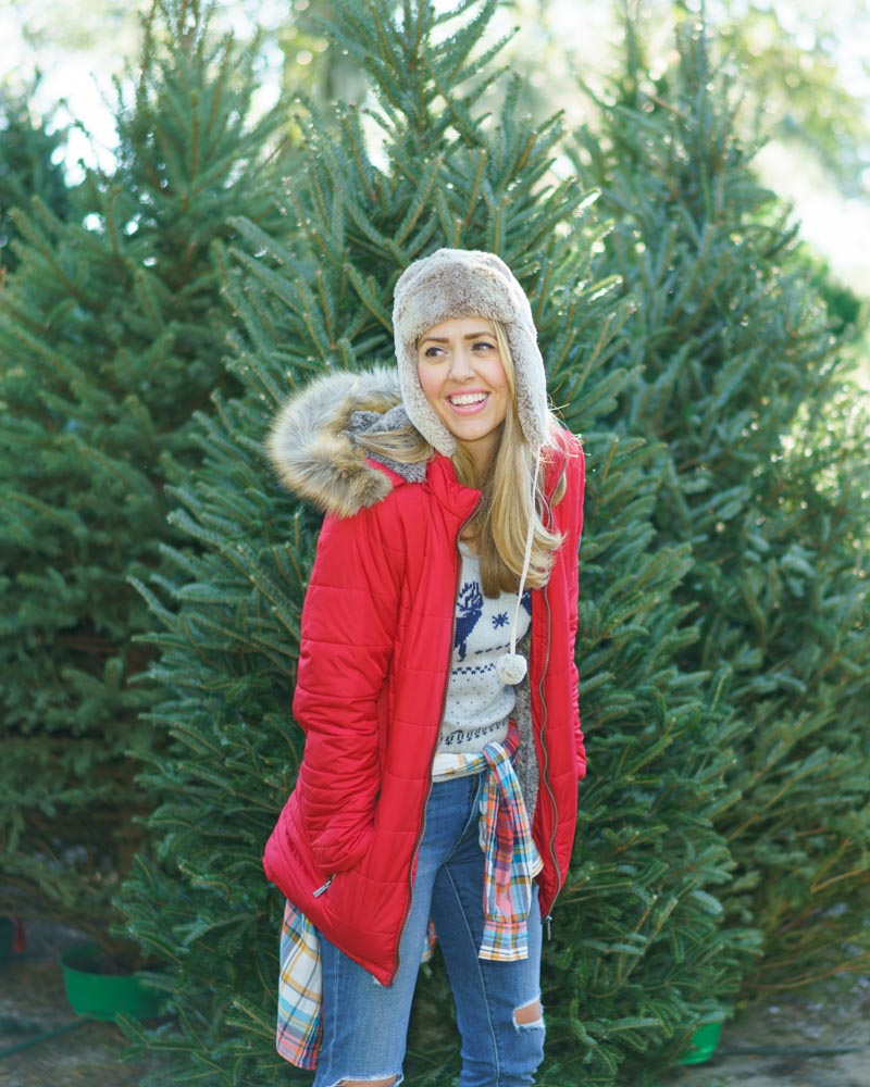 Red puffer coat, trapper hat, Fair Isle sweater