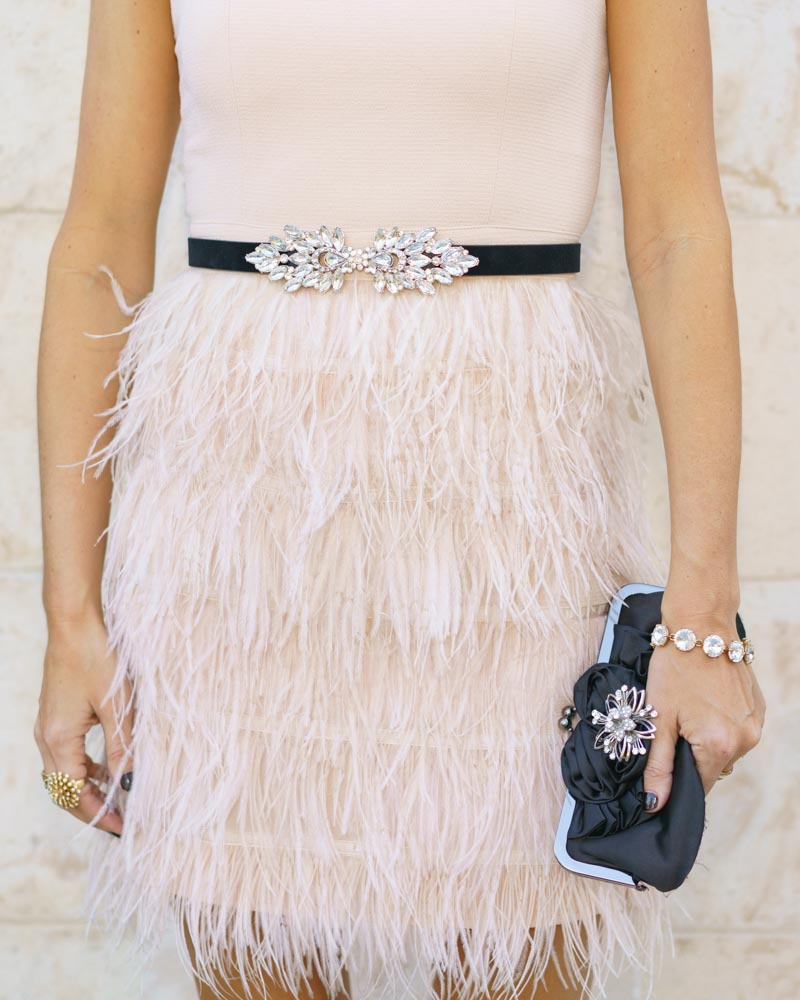 Pink feather dress and jeweled belt for ballet