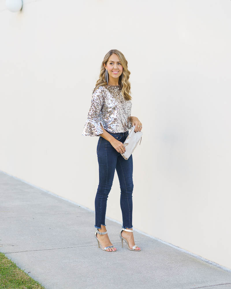 NYE outfit: sequin bell sleeve