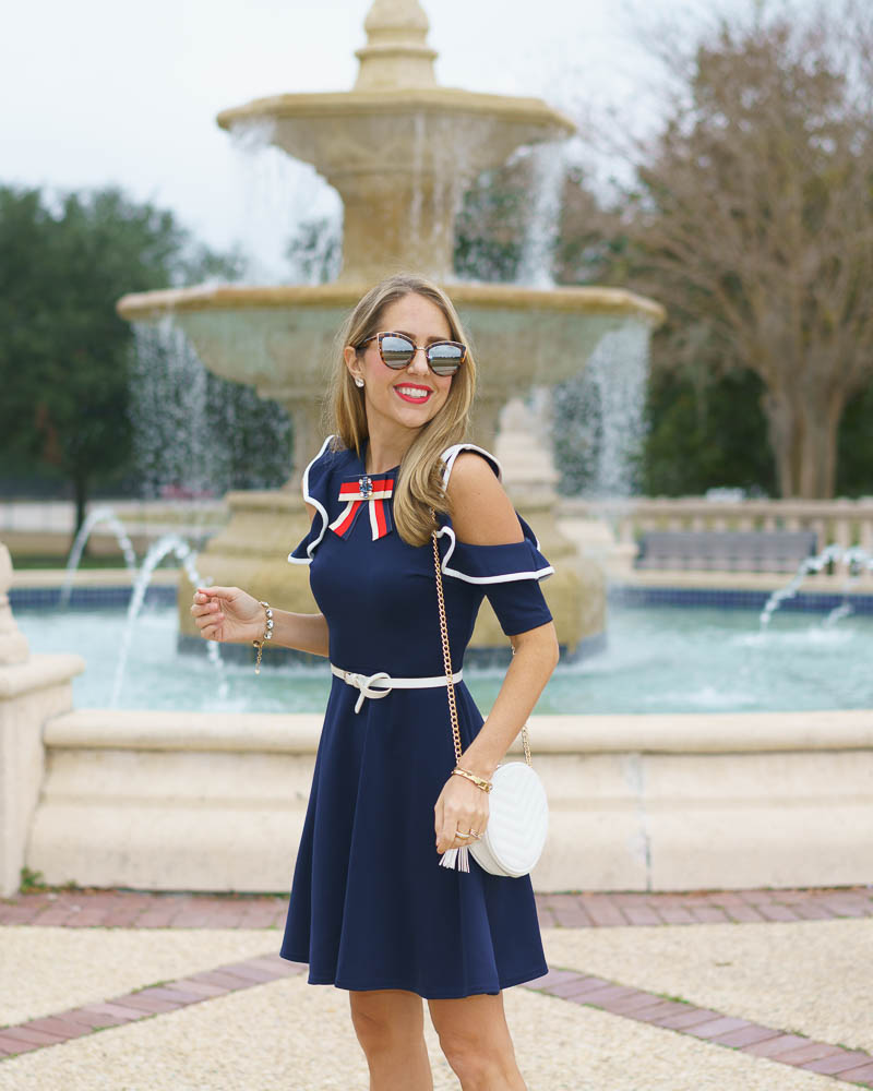 Preppy navy dress, red white blue outfit