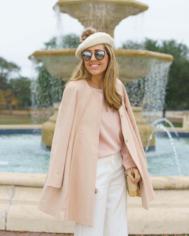 Beret outfit: pink coat, ivory dress pants