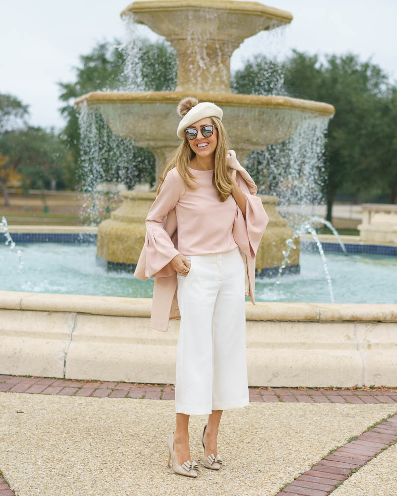 Beret outfit: pink bell sleeves, ivory dress pants