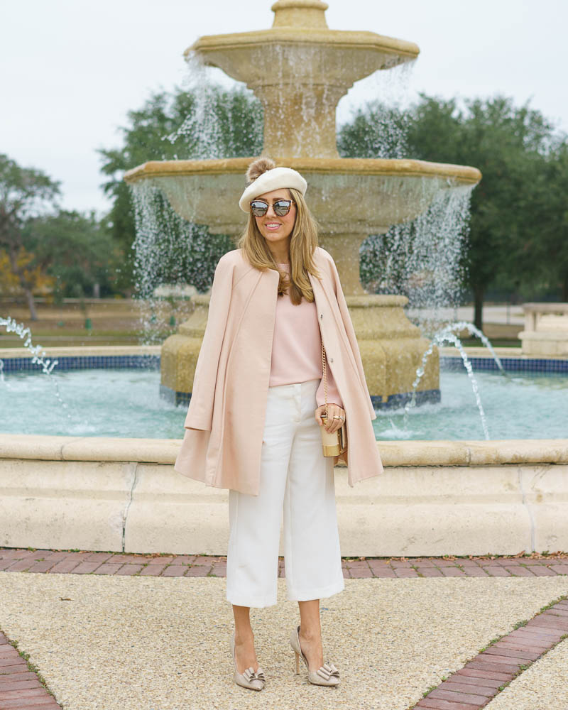 Beret outfit: pink coat, ivory dress pants