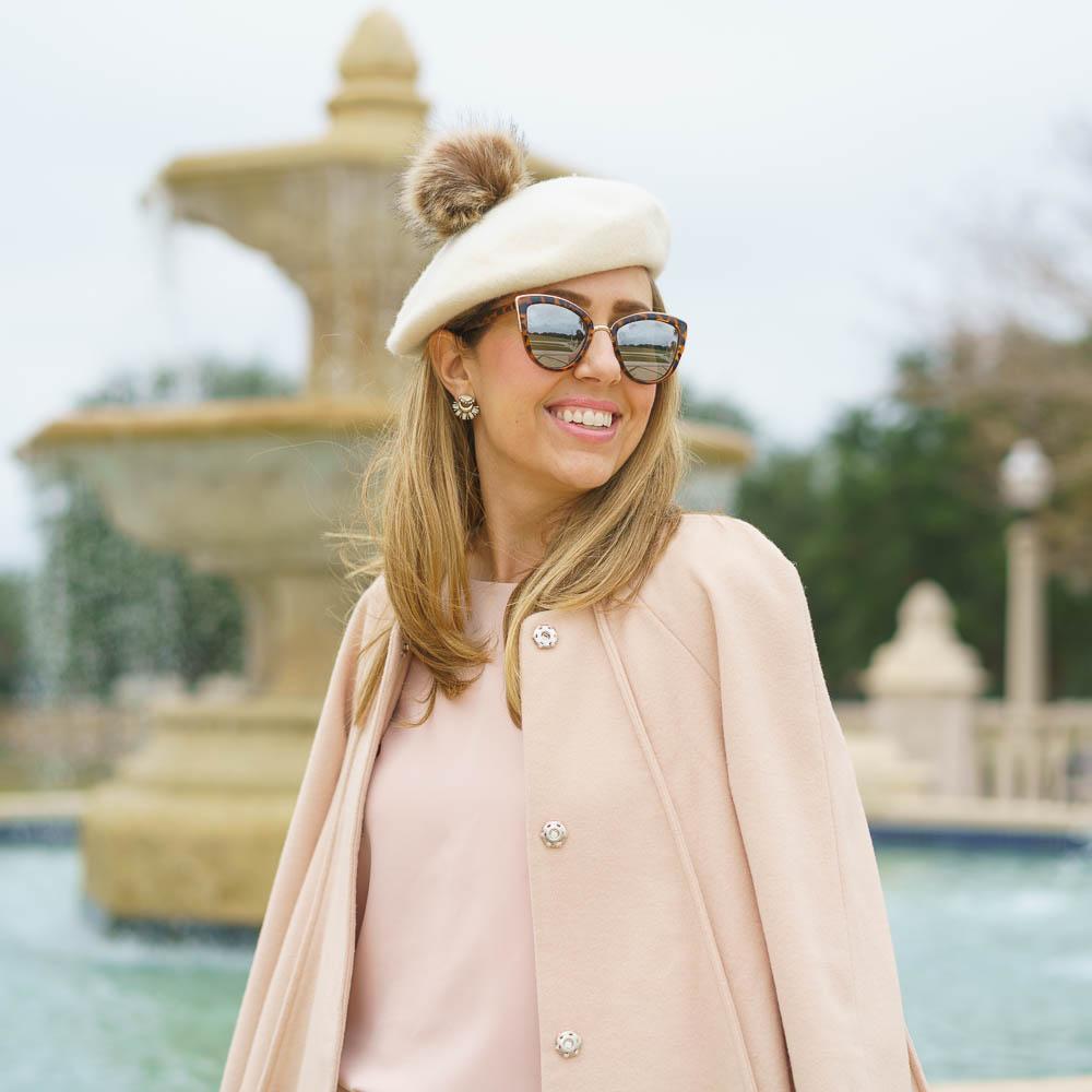 Beret outfit, blush pink coat