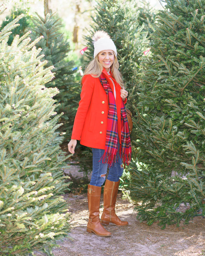 Red coat, plaid scarf, Christmas tree farm