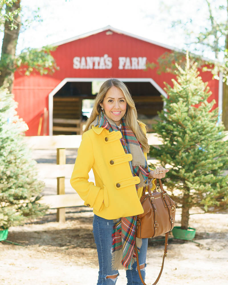 Yellow coat, plaid scarf