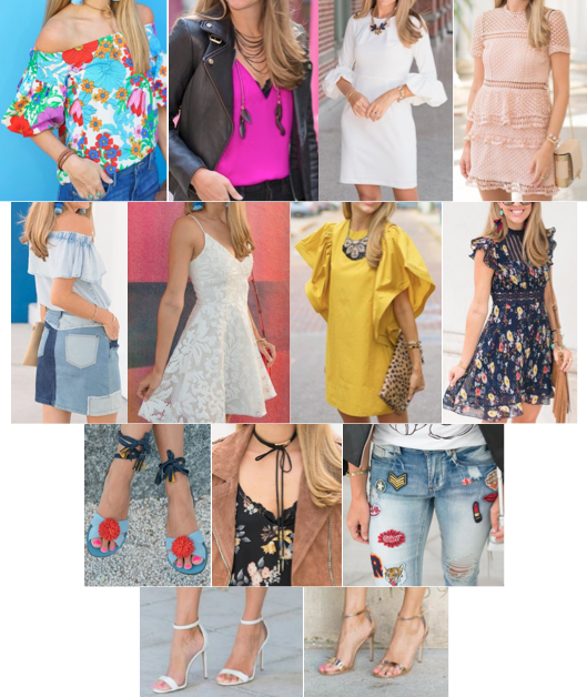 1.  Floral top  = $10 2.  Pink Cami  = $20 3.  White Dress  = $85 4.  Pink Tiered Dress  = $30 5.  Chambray top  = $13 6.  Denim Skirt  = $26 7.  White SunDress  = $30 8.  Yellow Dress  = $70 9.  Floral Dress  = $60 10.  Feather Earrings  = $21 11.  Fun Sandals  = $39 12.  Choker  = $4 13.  Patch Jeans  = $10 14.  White Heels  = $23 15.  Gold Heels  = $25 Total = $456