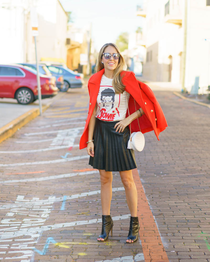 Red coat, Bowie tee, leather pleated skirt