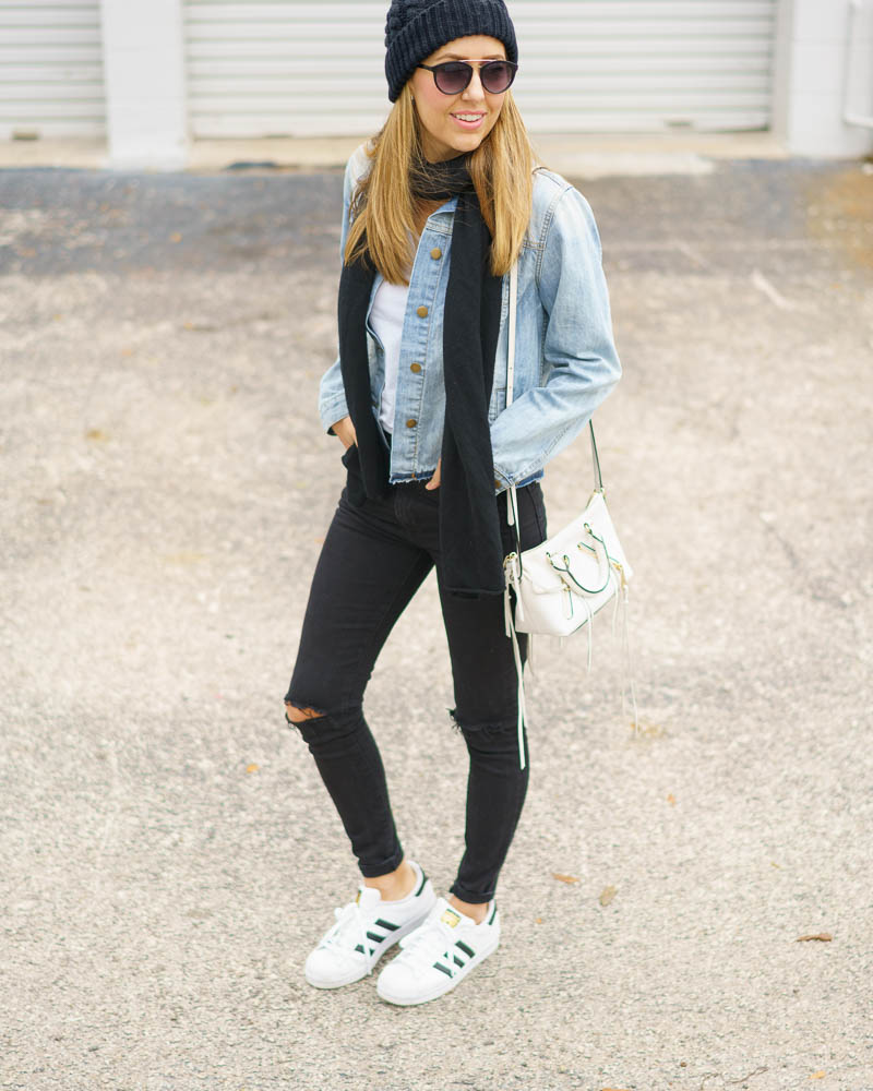 Denim jacket, black jeans, Superstars