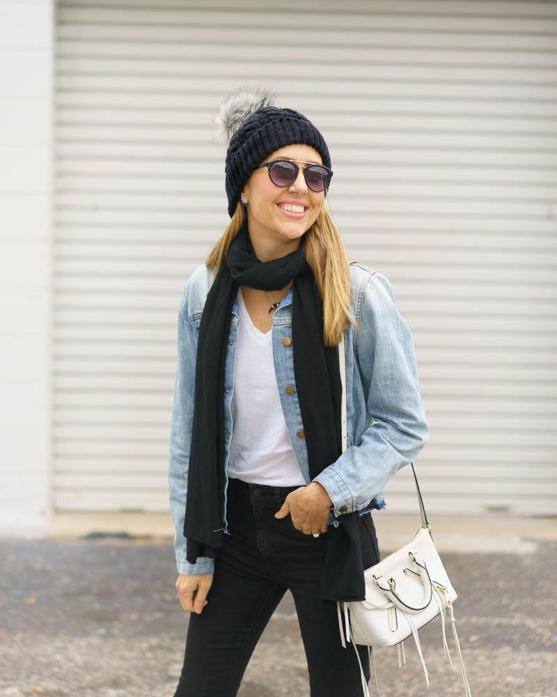 Denim jacket, black jeans