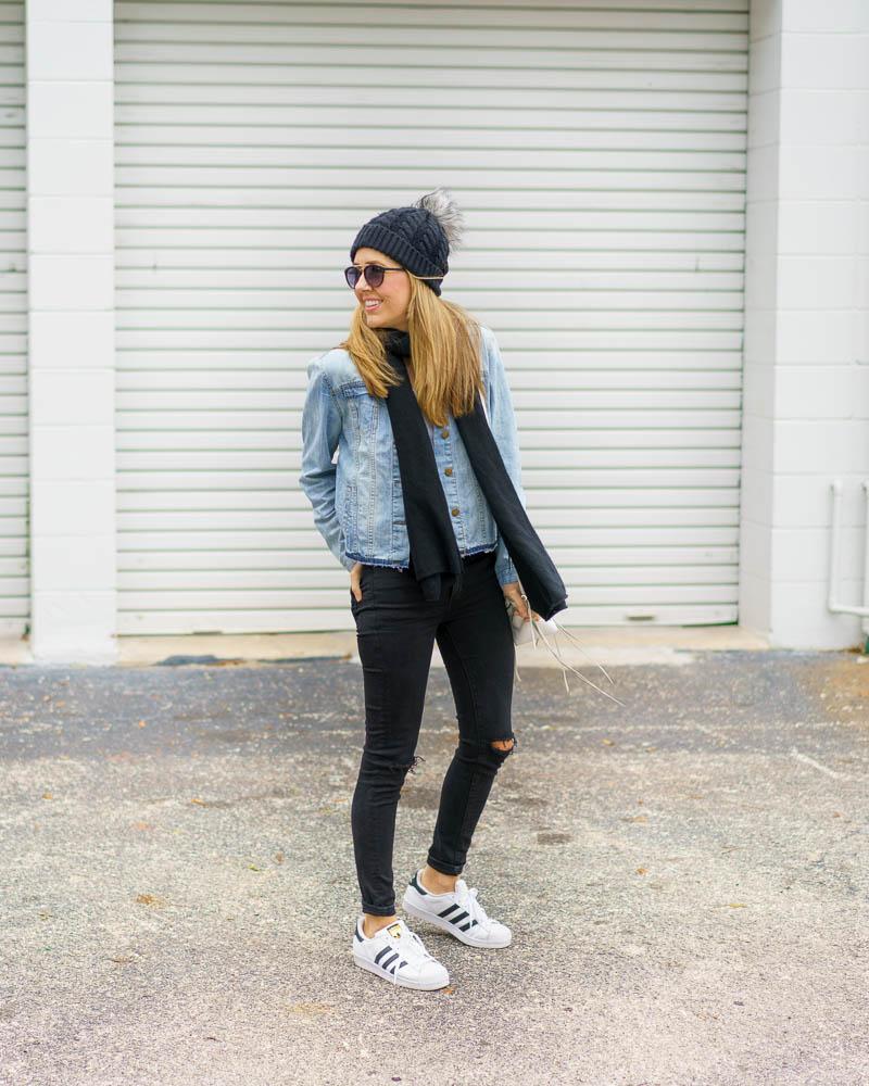 Denim jacket, black jeans, Superstars