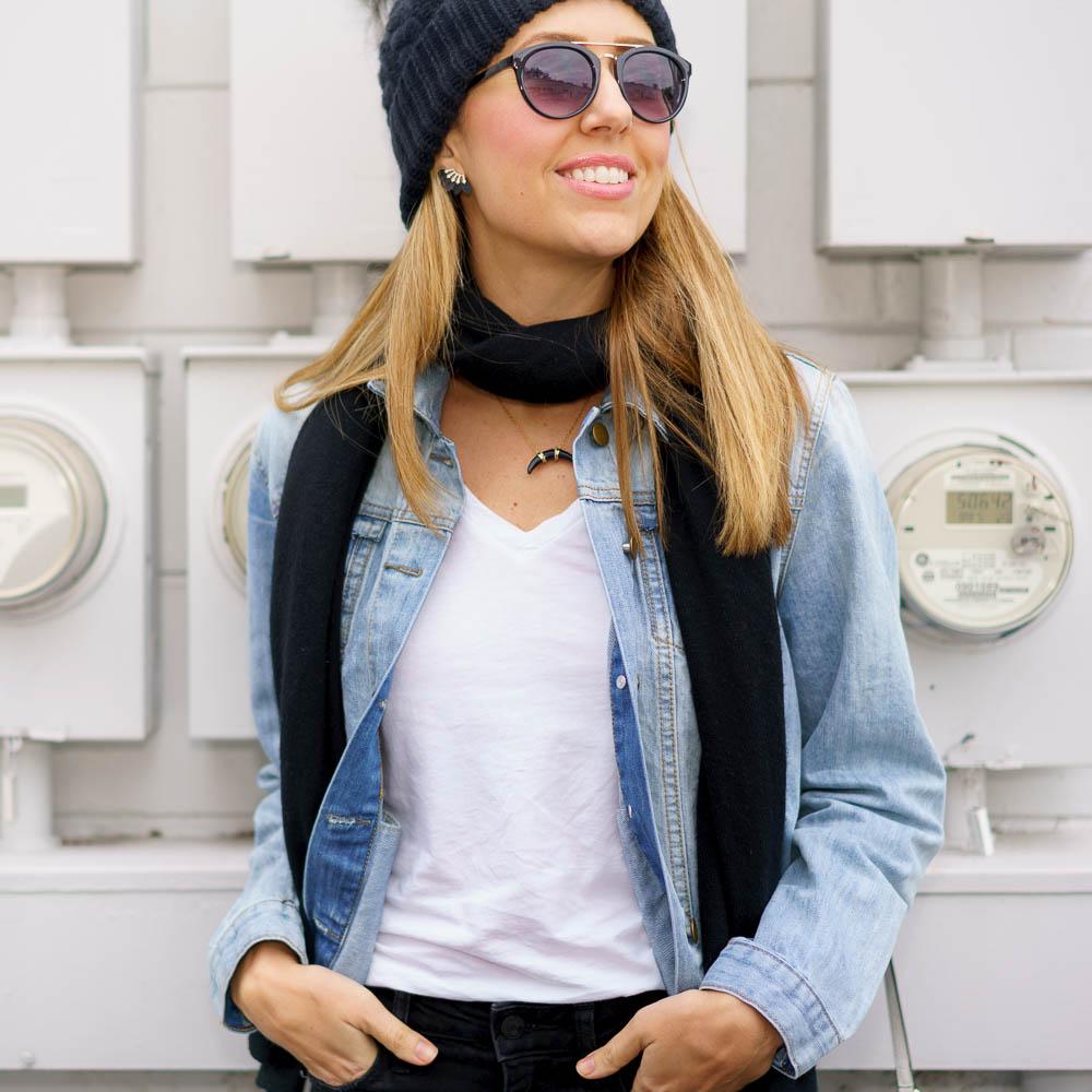 Denim jacket, black scarf