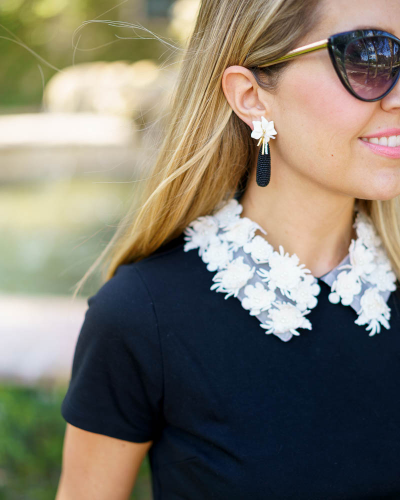 Embellished collar top, Sefina earrings