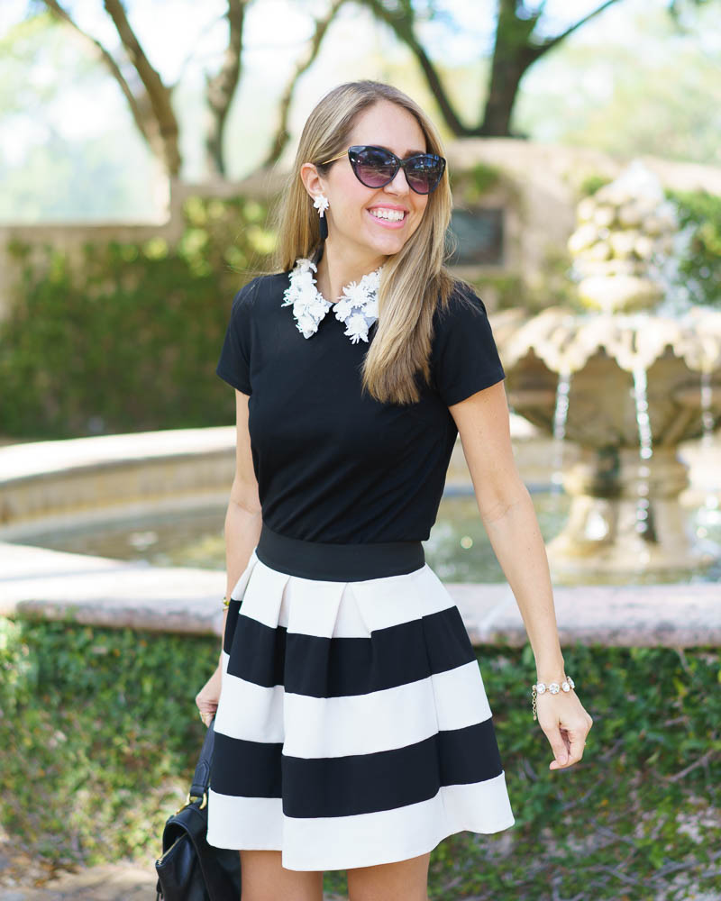Embellished collar top, Sefina earrings, stripe skirt
