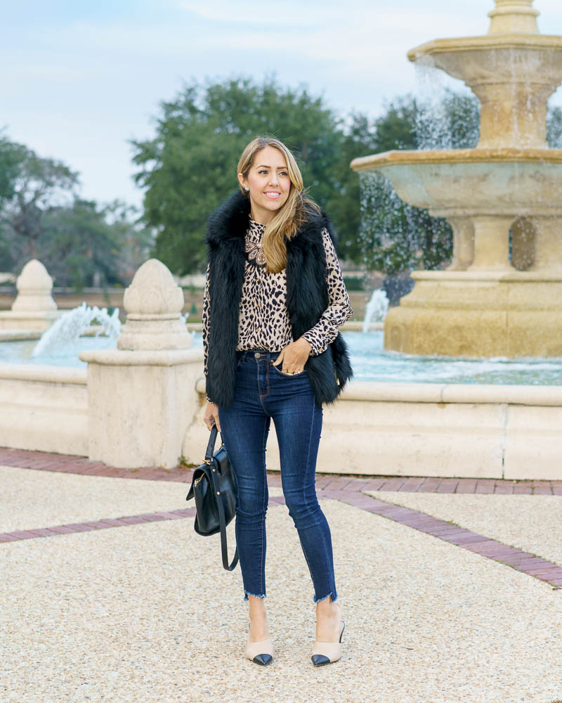 Leopard top, black faux fur vest