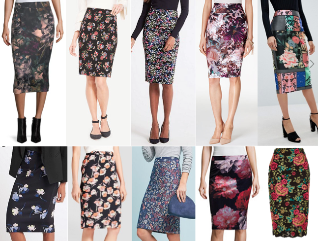 Floral pencil skirts on a budget