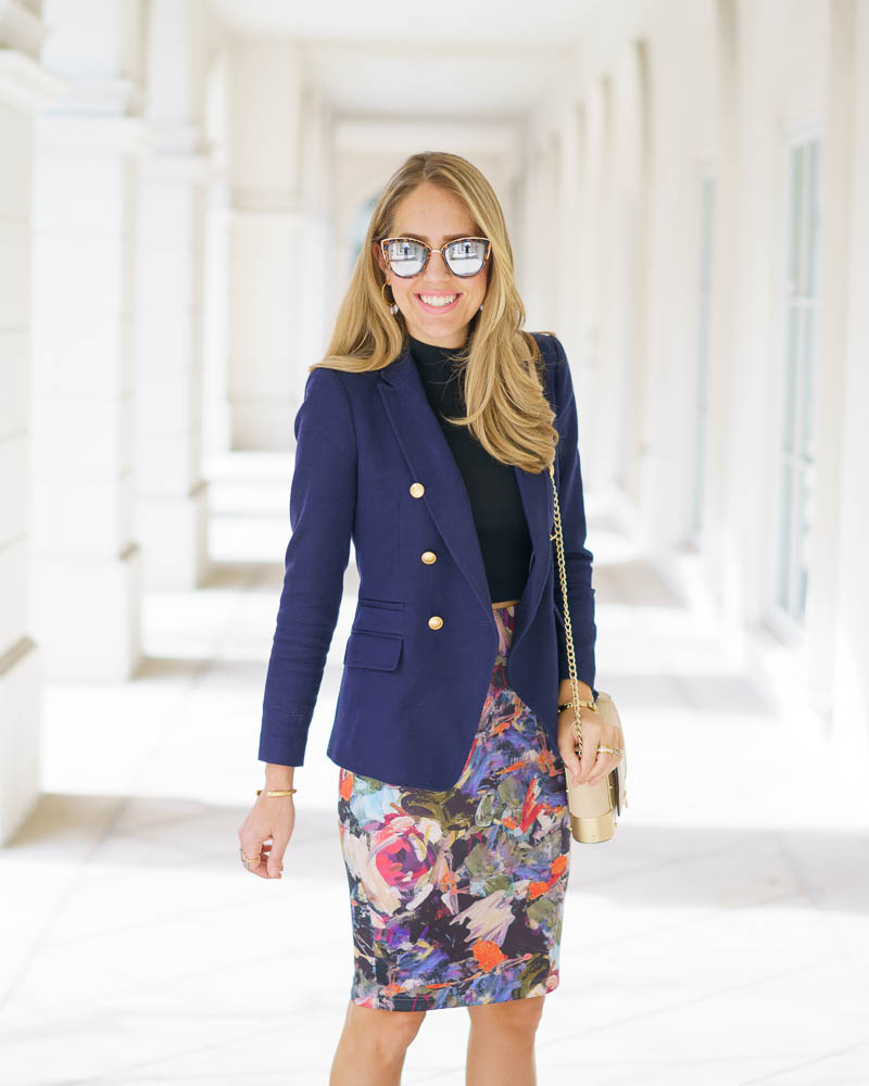 Navy blazer, floral pencil skirt