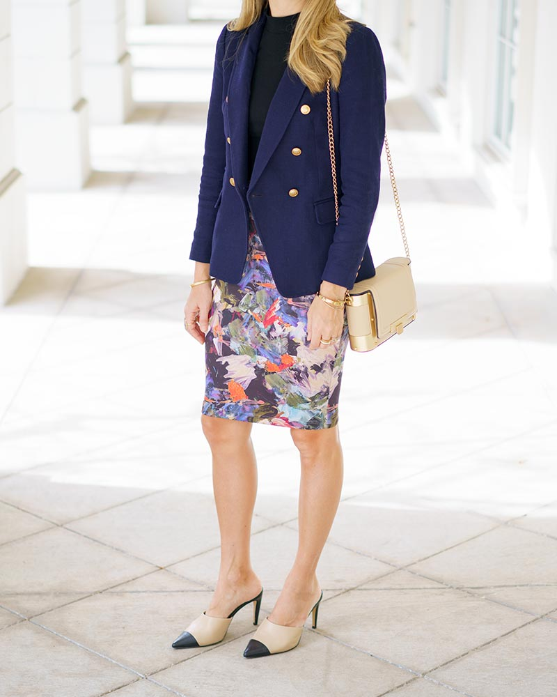 Office outfit: navy blazer, floral pencil skirt