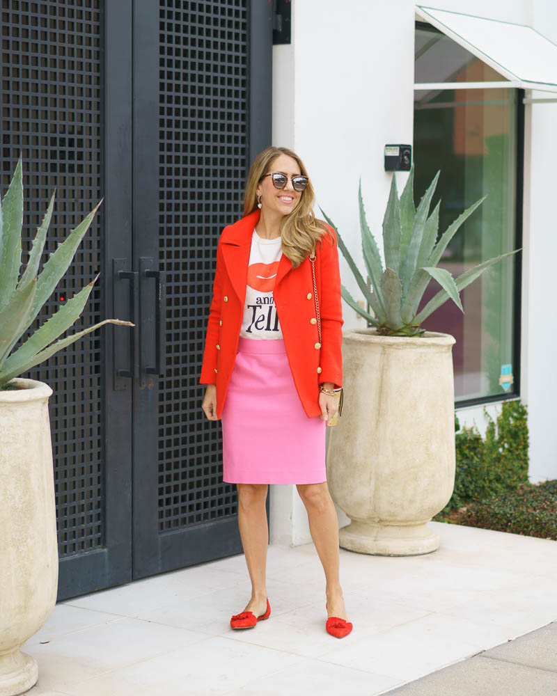 Red coat, pink pencil skirt
