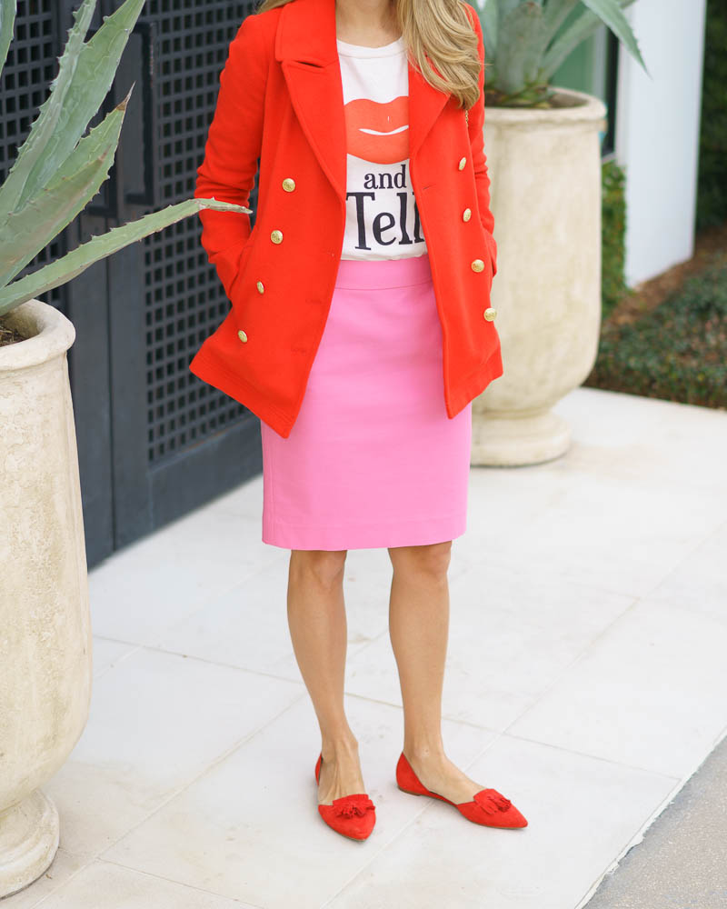 Red coat, pink pencil skirt, red flats