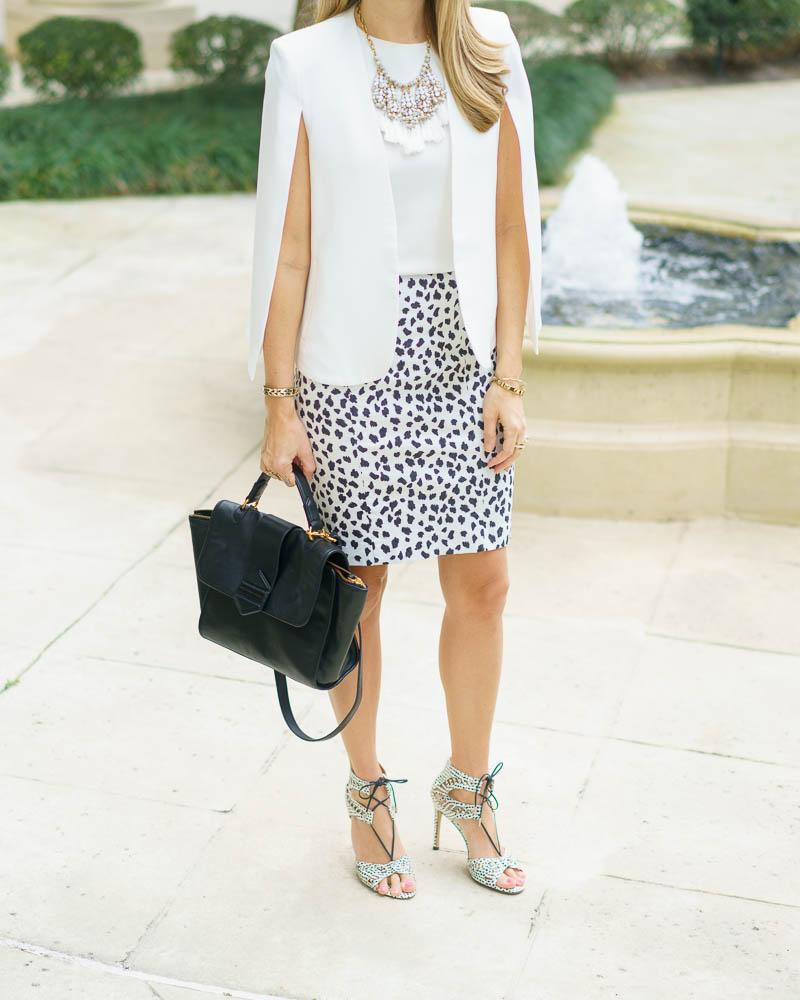 Cape blazer, Dalmatian print, statement necklace