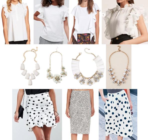 White ruffle top, Dalmatian print, statement necklace