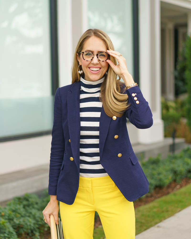 Navy blazer, stripe turtleneck, yellow pants