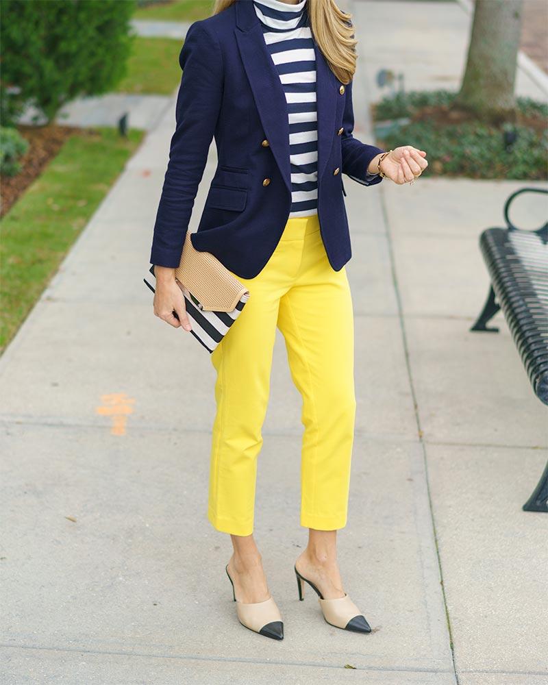 Navy blazer, stripe turtleneck, yellow pants