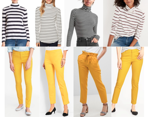 Stripe turtleneck, yellow pants