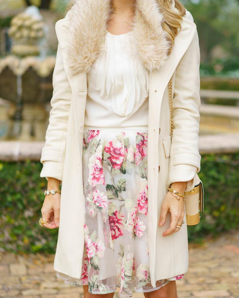 Ivory coat, floral skirt