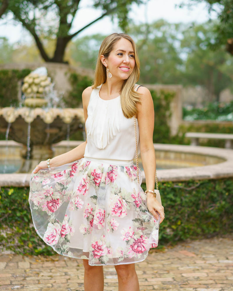 Ivory top, floral skirt