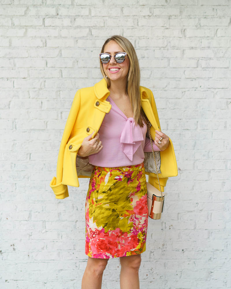 Yellow coat, pink sweater, floral skirt