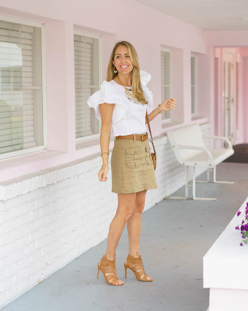 White ruffle sleeve top, khaki skirt