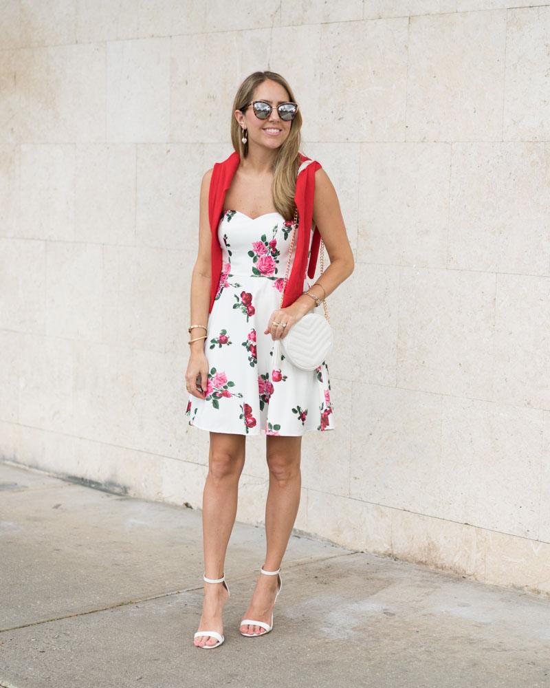 Floral dress, feminine outfit