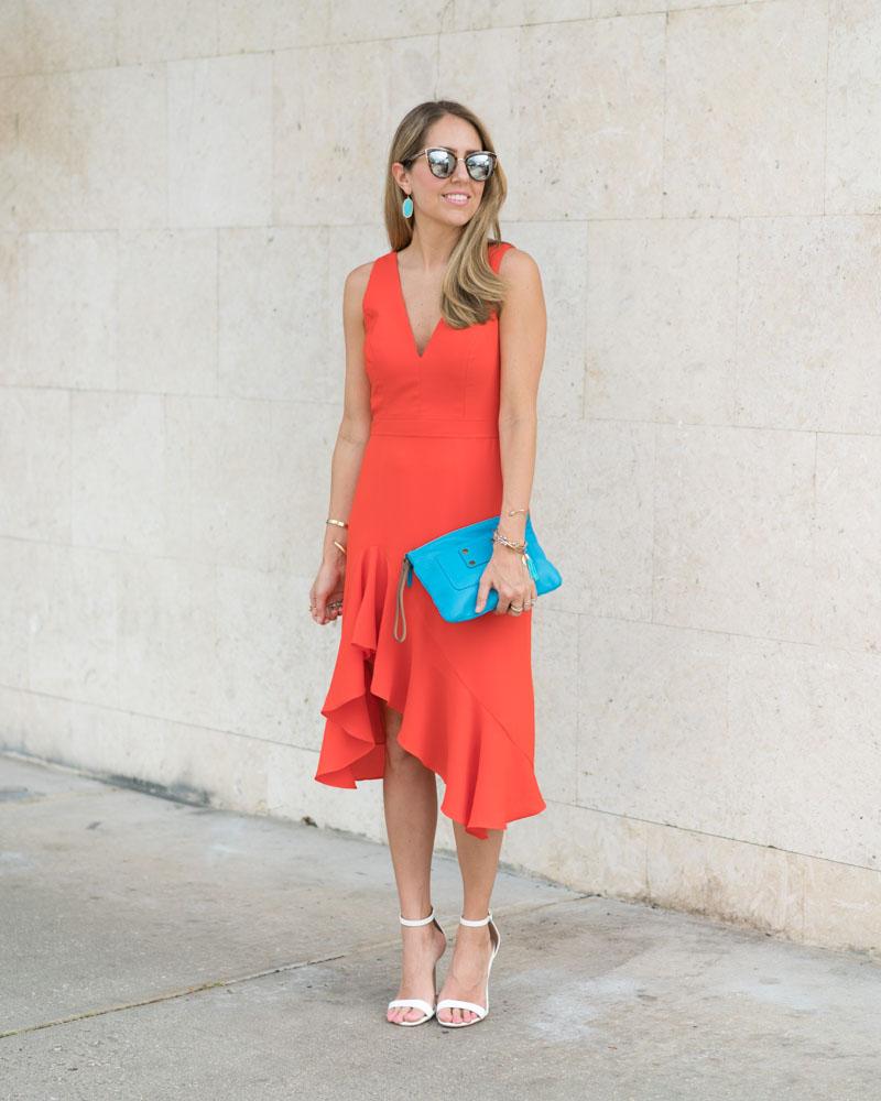 Orange red ruffle dress