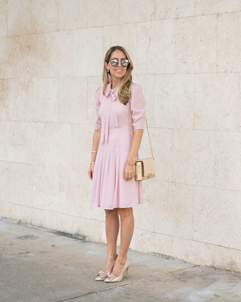 Long sleeve pink tie-neck dress
