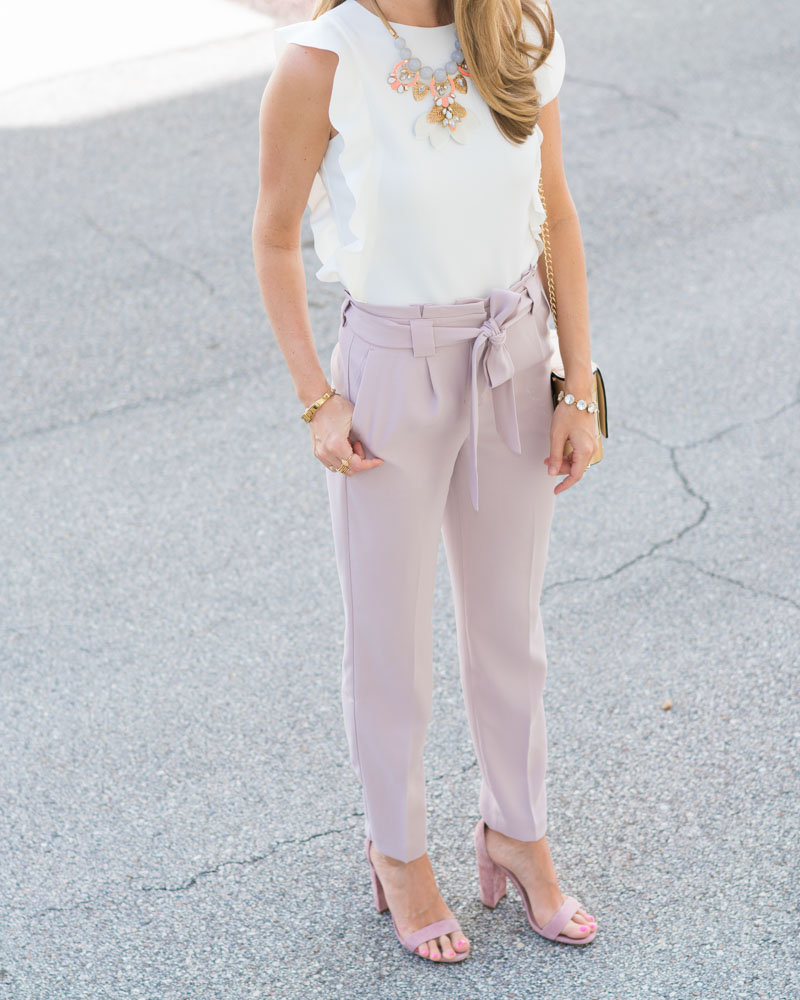 Pastel Express dress pants, white ruffle top