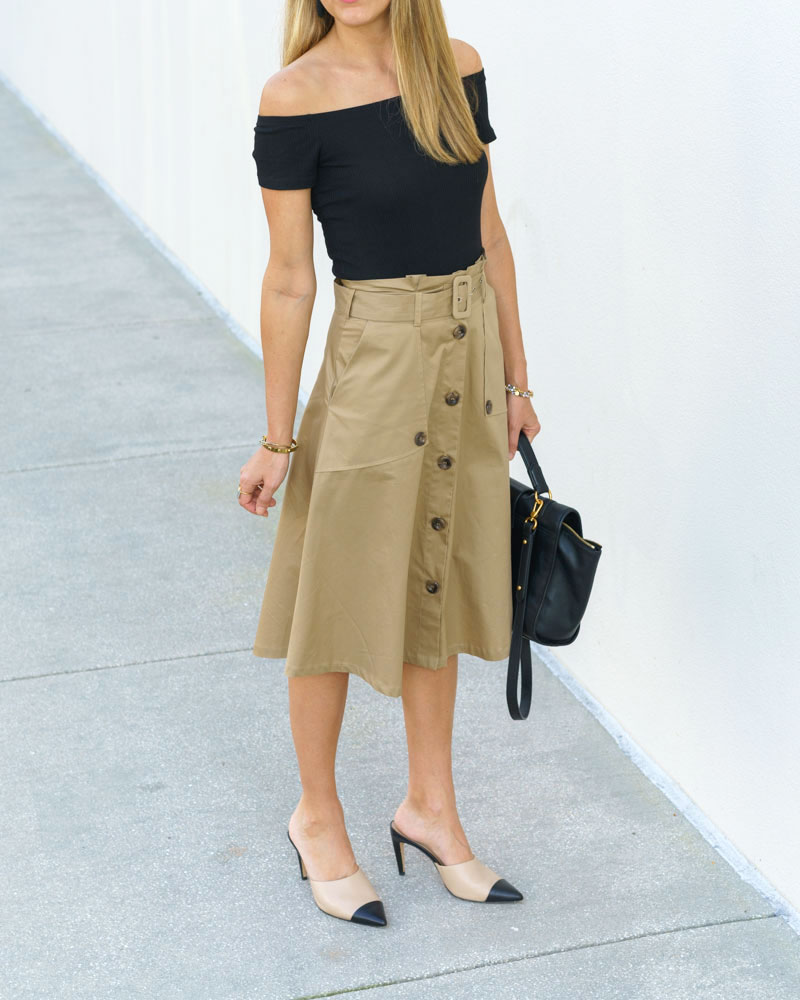 Trench skirt, cap toe mules