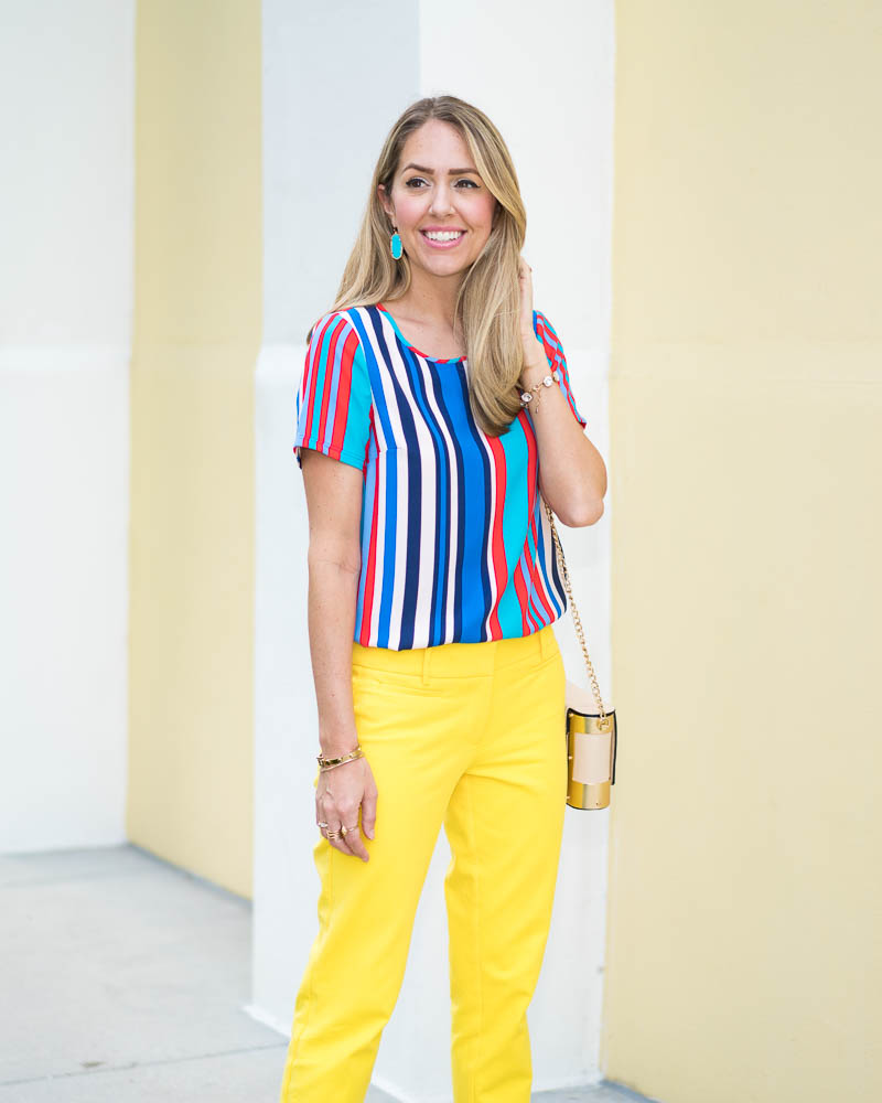 Rainbow stripe top, yellow pants