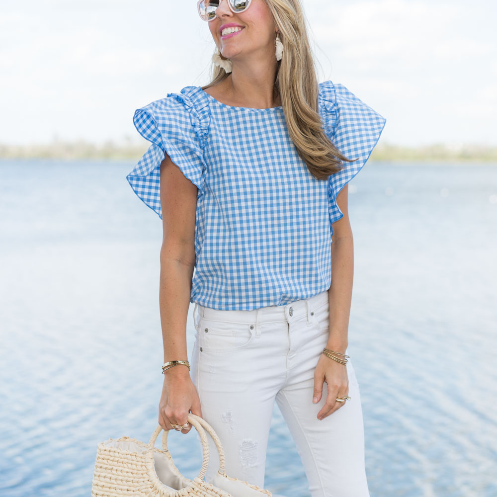 Gingham ruffle sleeve, white jeans